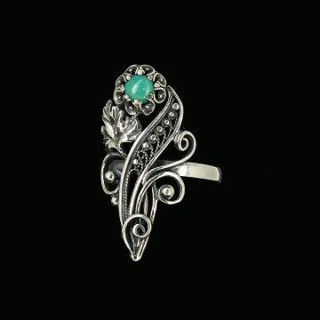 Серебряное кольцо с филигранью (камень бирюза)