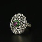 Кубачинское серебряное кольцо с филигранью ручной работы (камень - цоизит) арт.11311
