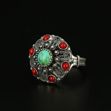 Кубачинское серебряное кольцо с филигранью ручной работы (камень - бирюза, коралл)