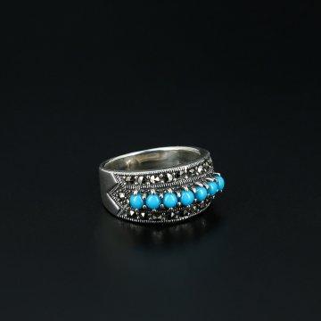 Серебряное кольцо (марказит, бирюза)