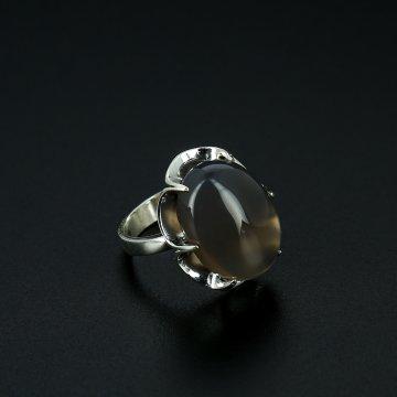 Серебряное кольцо с филигранью (камень агат)