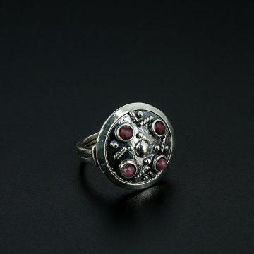 Серебряное кольцо с филигранью (камень турмалин)