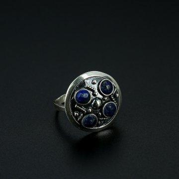 Серебряное кольцо с филигранью (камень лазурит)