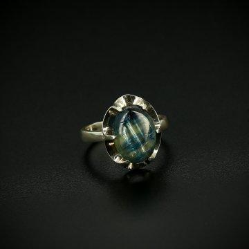 Серебряное кольцо с филигранью (кианит)