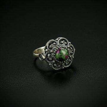 Серебряное кольцо с филигранью (цоизит)