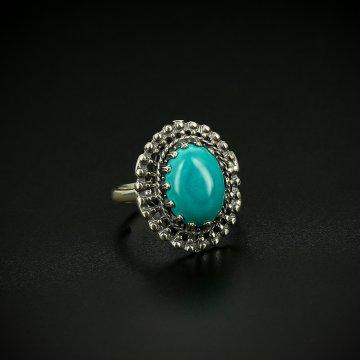 Серебряное кольцо с филигранью (бирюза)