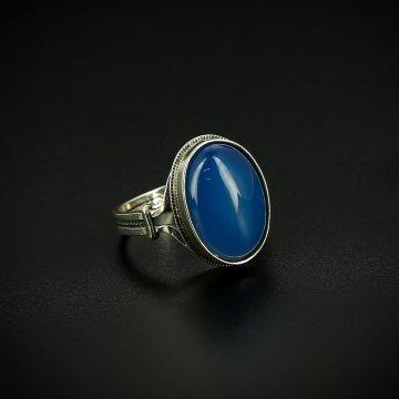 Серебряное кольцо с филигранью (агат голубой)