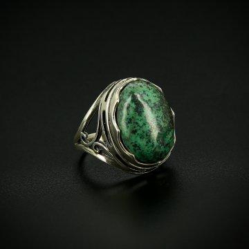 Серебряное кольцо с филигранью (хризоколла)