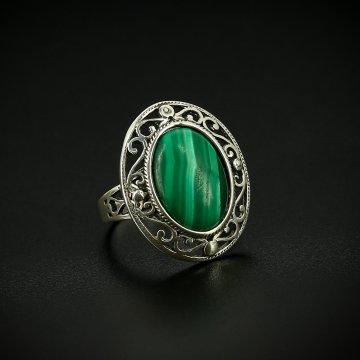 Серебряное кольцо с филигранью (малахит)