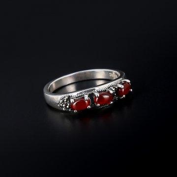 Серебряное кольцо (марказит, сердолик)