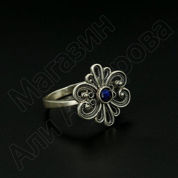 Серебряное кольцо с филигранью (камень - лазурит)
