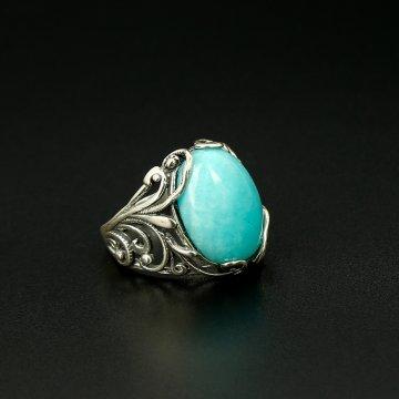 Серебряное кольцо с филигранью (амазонит)