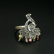 Серебряное кольцо с филигранью (камень - турмалин)