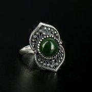 Серебряное кольцо с филигранью (нефрит)