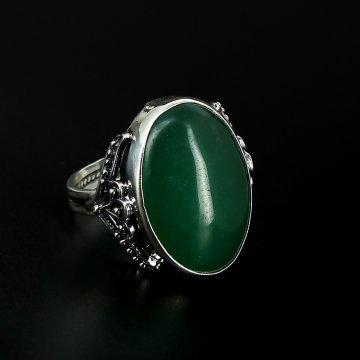 Серебряное кольцо с филигранью (хризопраз)