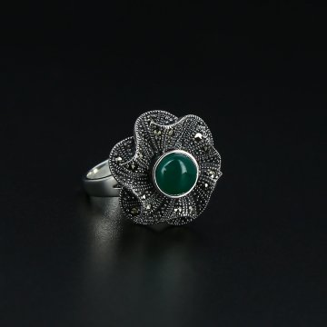 Серебряное кольцо (марказит, хризопраз)