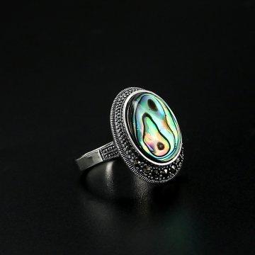 Серебряное кольцо (марказит, перламутр абалон)