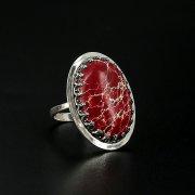 Серебряное кольцо с филигранью (яшма)