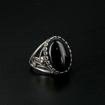 Серебряное кольцо с филигранью (агат)