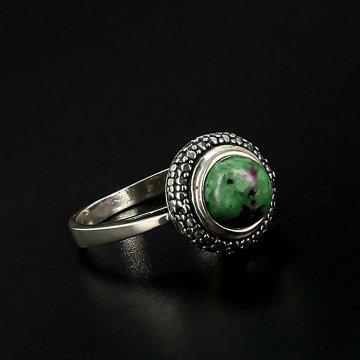 Серебряное кольцо (цоизит)