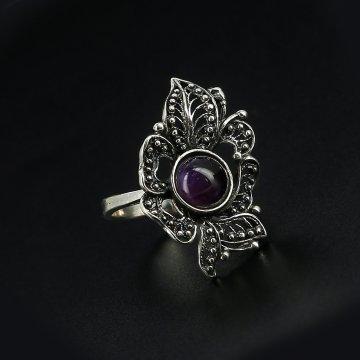 Серебряное кольцо с филигранью (аметист)