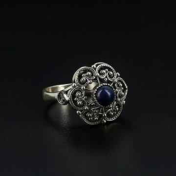 Серебряное кольцо с филигранью (лазурит)