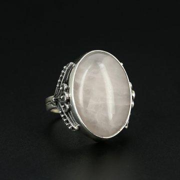 Серебряное кольцо с филигранью (розовый кварц)