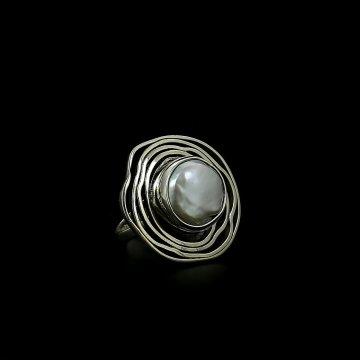 Серебряное кольцо (барочный жемчуг)