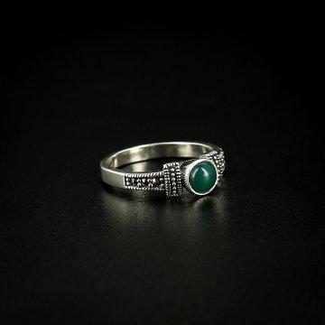 Серебряное кольцо (марказит,хризопраз)