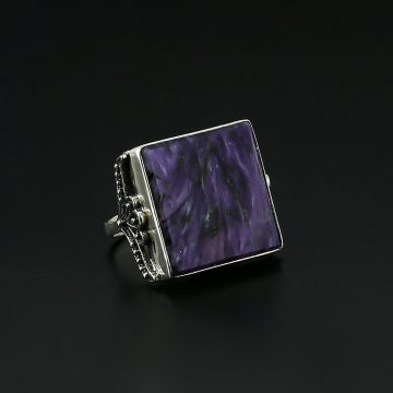 Серебряное кольцо (чароит)