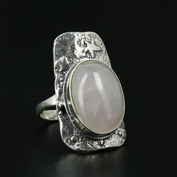 Серебряное кольцо (розовый кварц)