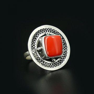 Серебряное кольцо Южное солнце (коралл)