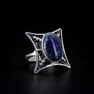 Серебряное кольцо авторская работа (лазурит)