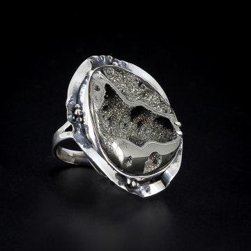 Серебряное кольцо авторская работа (аммонит)