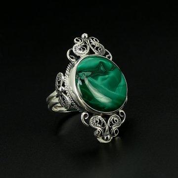 Серебряное кольцо авторская работа (малахит)