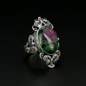 Серебряное кольцо авторская работа (эвдиалит)