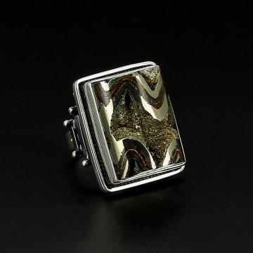Серебряное кольцо авторская работа (жеода аммонитовая)