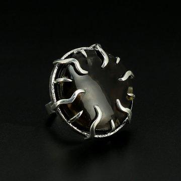 Серебряное кольцо авторская работа (морион с фантомом)