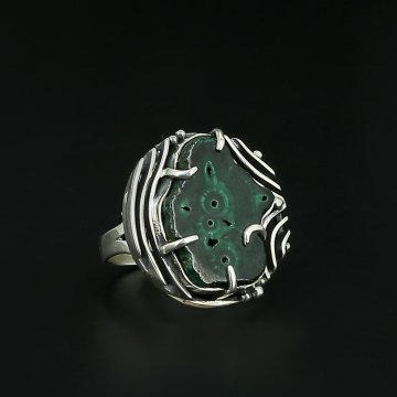 Серебряное кольцо Амазония авторская работа (малахит)