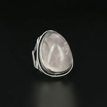 Серебряное кольцо Акварель авторская работа (розовый кварц)