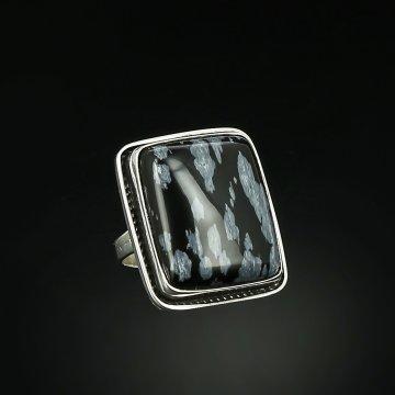 Серебряное кольцо Стиль авторская работа (обсидиан снежный)
