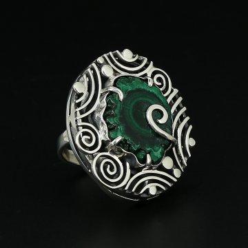 Серебряное кольцо Амазония авторская работа (малахит Конго)