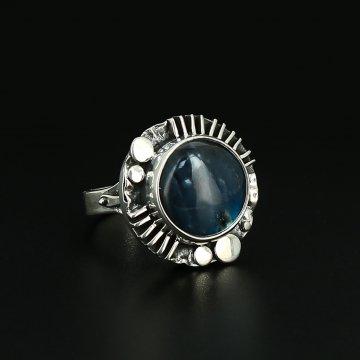 Серебряное кольцо Космос авторская работа (лабрадор)