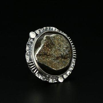 Серебряное кольцо Вселенная авторская работа (жеода пиритизированная)