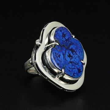 Серебряное кольцо Душа океана авторская работа (азурит)