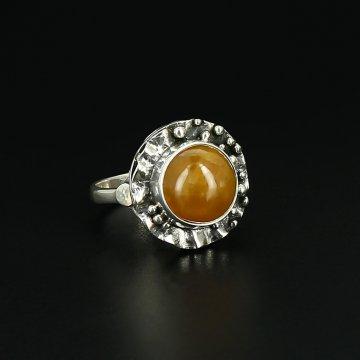 Серебряное кольцо Солнечное лето авторская работа (симбирцит)
