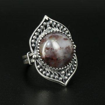 Серебряное кольцо (моховой агат)
