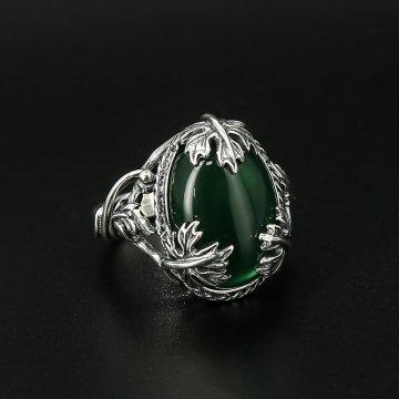 Серебряное кольцо Лоза (хризопраз)