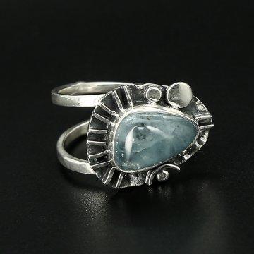 Серебряное кольцо Лазурь авторская работа (аквамарин)