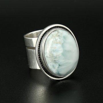 Серебряное кольцо Облака авторская работа (ларимар)